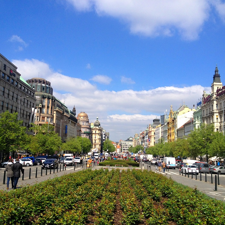 Bustling Wenceslas Square