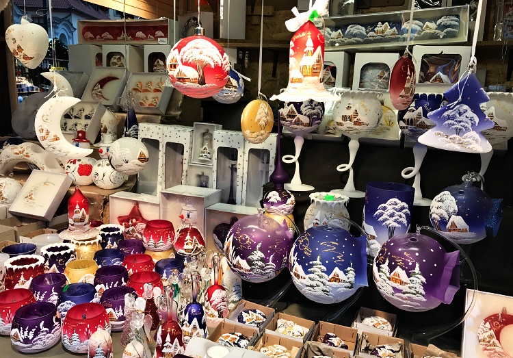 eye catching christmas tree decorations are a popular item in pragues christmas markets