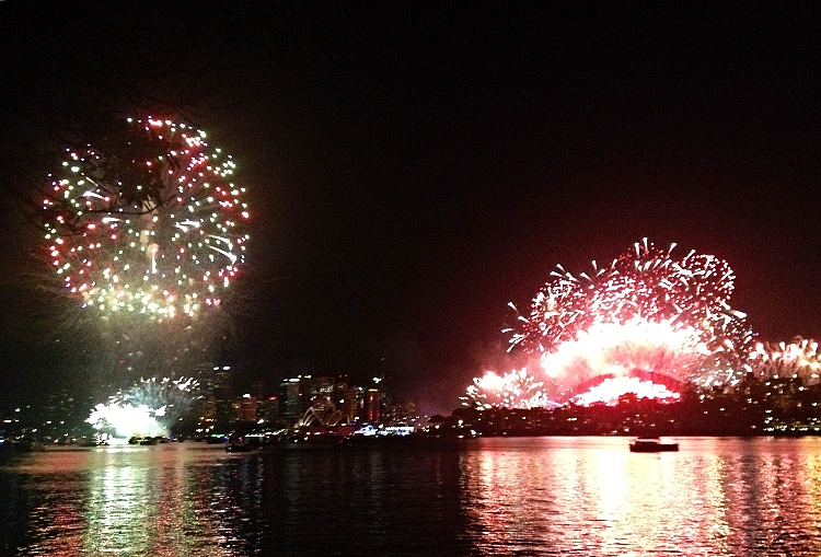 The fireworks seen from Cremorne Point