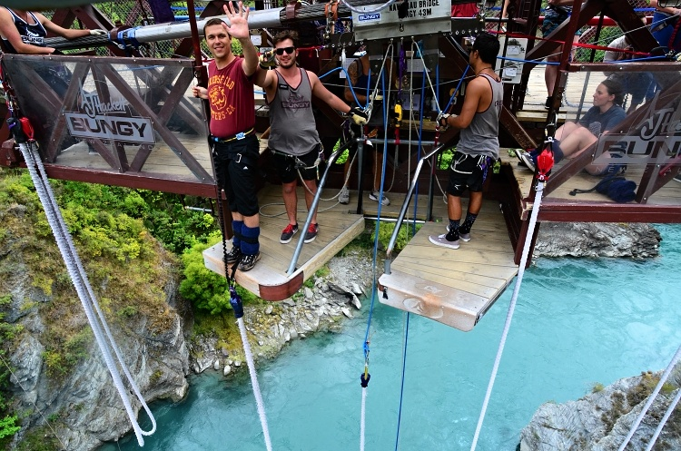 Smiles for the camera before my first solo bungee jump at the Kawarau Bridge