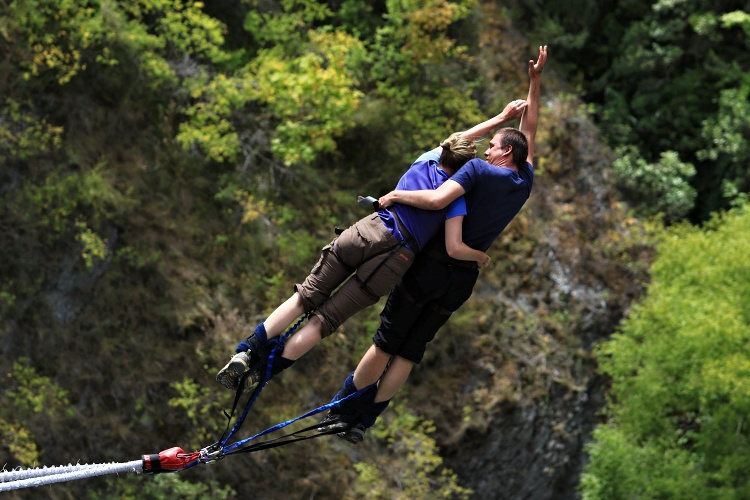 Tandem bungee jumping is a great experience for couples