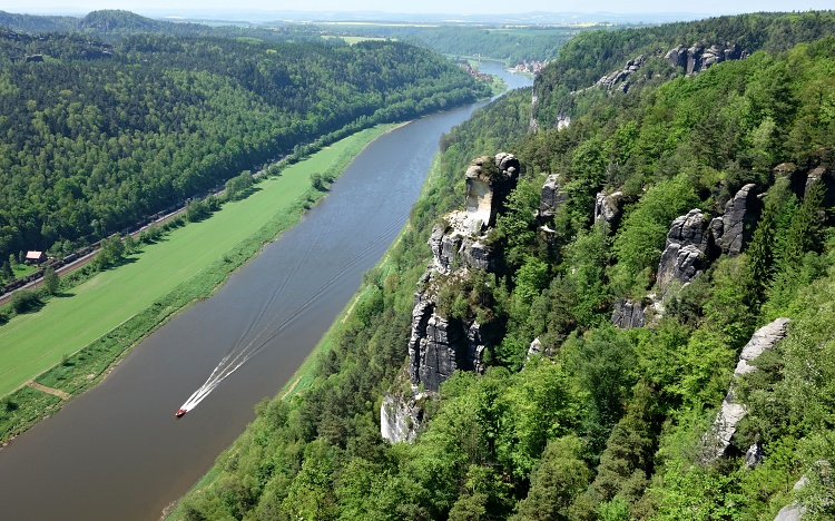 View of the Elbe River from the Basteiaussicht lookout