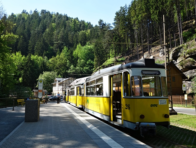 The historical Kirnitzschtal Tramway will take you from Bad Schandau to the Lichtenhain Waterfall