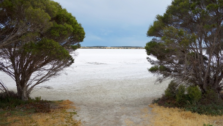 Don't miss the beautiful salt lakes while driving on Kangaroo Island