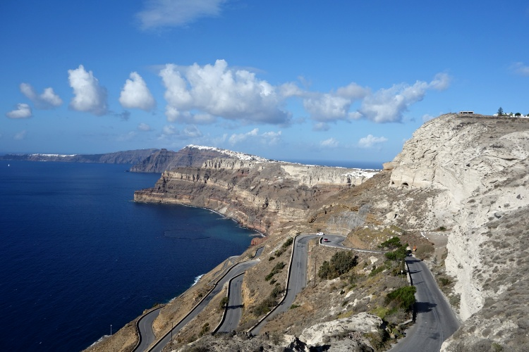 The winding road leading to Ancient Thera offers amazing views of the island